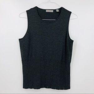 KATE HILL Gray Merino Sleeveless Knit Blouse